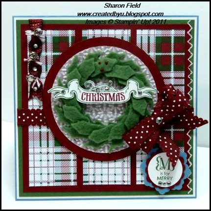 holiday_mini_catalog, frostwood_lodge, stampin_queens, sketch_challenge, stitched_felt, Pines_and_poinsettias, design_team, Sharon_field, Christmas, Occasions_alphabet, quilted_Satin_ribbon, Createdbyu_blogspot, big_shot, Snow_burst, Textured_Impressions