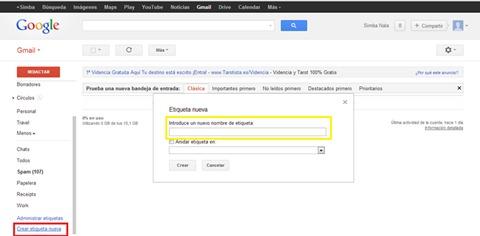 Etiquetas en Gmail