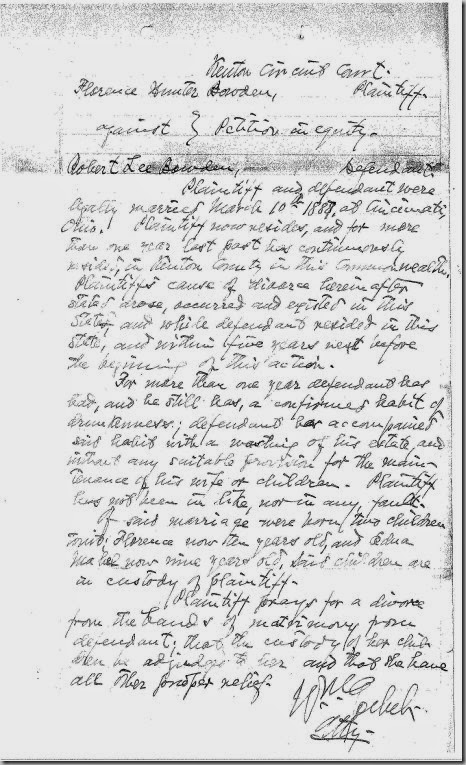 BOWDEN_Robert & Florence Hunter_Divorce_papers_1899_KY_Page_1