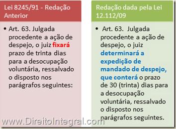 Art. 63: Julgada procedente a ação de despejo, o juiz determinará a expedição de mandado de despejo, que conterá o prazo de 30 (trinta) dias para a desocupação voluntária, ressalvado o disposto nos parágrafos seguintes.