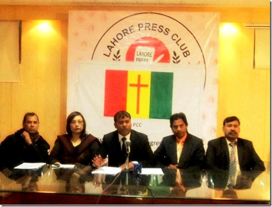 Mushtaq Gill Advocate (center) President Pakistan Christian Congress PCC Lahore and other PCC leaders' in a press conference in Lahore Press Club