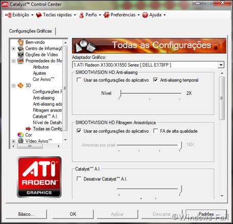 Todas as Configurações: Permite ajustar todas as configurações 3D citadas acima em uma única janela.