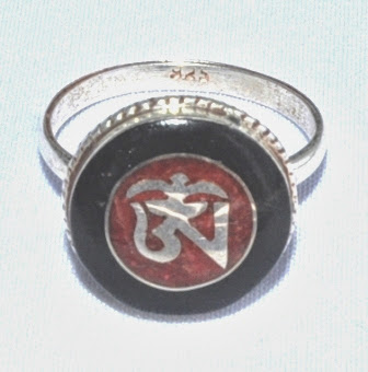 Sterling Silver Ring with Om and Buddha Eye