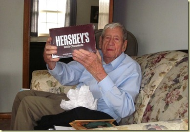 Dad with Hersey Bars