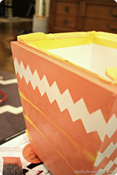 pink-chevron-taped-wastebasket
