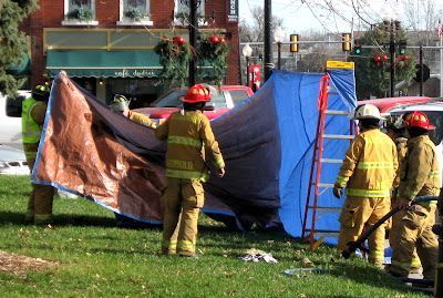 A decontamination area was set up in Central Park; firefighters used a hose to rinse possibly dangerous materials off of two suspects