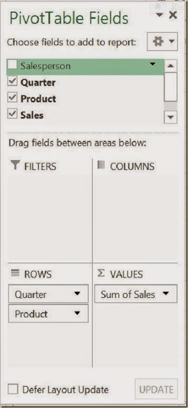 Pivot Tables in Excel - 4th Pivot Table Field Arrangement