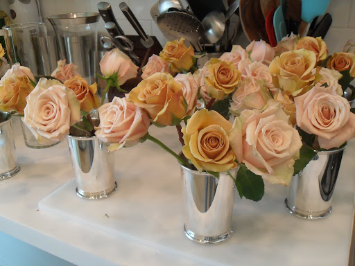 Be sure to cut the stems on an angle, the more surface there is the rose will be able to absorb more water. When the rose sits in the vase with a stem cut on an angle then it will be exposed to more water and not sitting flat on the bottom of the vase.