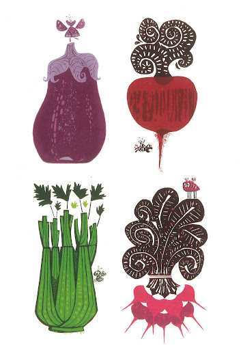 This silkscreen would look great framed and hung in the kitchen. Eggplant, Radish, Radishes, Celery Silkscreen print circa 1972.