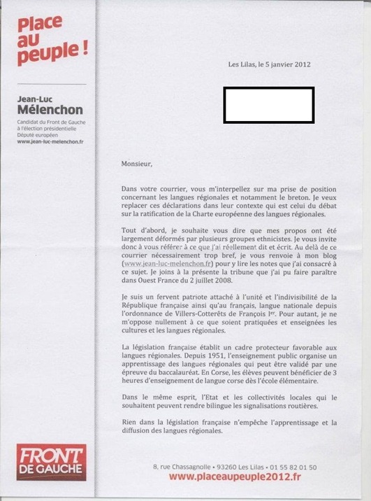 Letra de Jean-Luc Mélenchon-