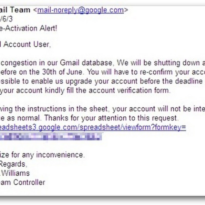 Google Docs Exploited in Gmail De-activation Phishing Scam