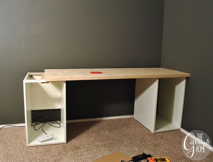 How To Make DIY Ikea Hack Desk with Plank Top and Copper Pulls