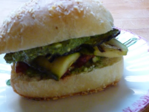Grilled Zucchini and Mint Pesto Sandwich