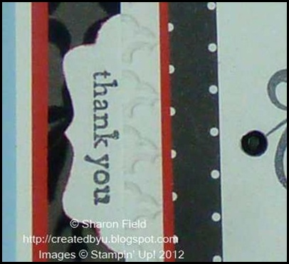 insert stamped scrap sideways into decorative label punch