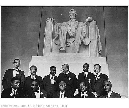 'Civil Rights March on Washington, D.C. [Leaders of the march posing in front of the statue of Abraham Lincoln, Lincoln Memorial.], 08/28/1963' photo (c) 1963, The U.S. National Archives - license: http://www.flickr.com/commons/usage/