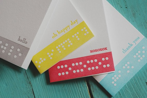 Braille Letterpress Notecards by Fourth Year Studio