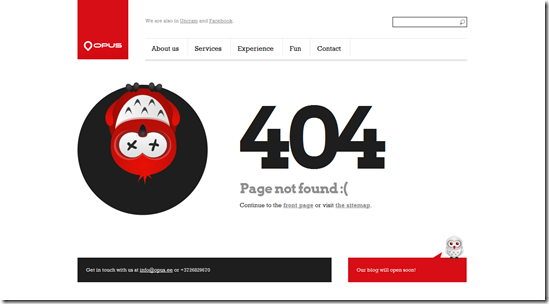 404 Error Page Design - Opus