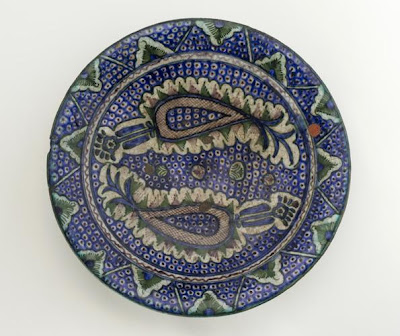 Dish | Origin:  Uzbekistan | Period: 19th century | Details:  Not Available | Type: Earthenware | Size: H: 7.3  W: 36.0   D: 36.0  cm | Museum Code: S1998.224 | Photograph and description taken from Freer and the Sackler (Smithsonian) Museums.