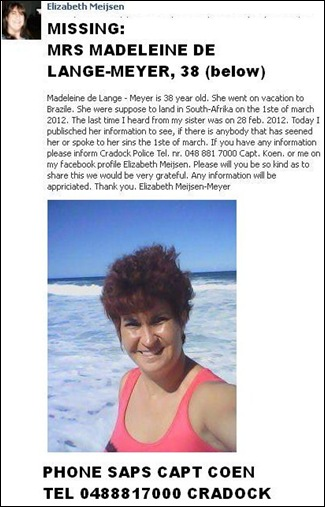 DE LANGE_MEYER MRS MADELEINE38  MISSING M ARCH 1 2012 CRADOCK SAPS 0488817000 CAPT KOEN