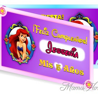 Tarjeta de Cumpleaños de La Sirenita | Invitaciones listas para Imprimir