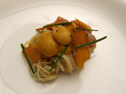 Cold Capellini with Sea Urchin and Akagai
