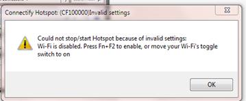 โปรแกรม connectify แจ้ง wi-fi disabled