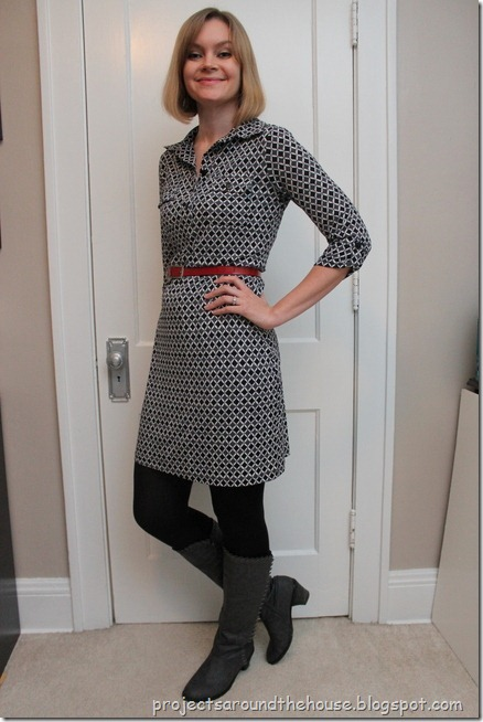 printed shirt dress, red belt