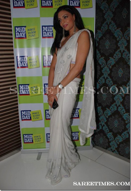 Simran_Kaur_Mundi_White_Saree