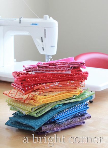 Rainbow fabric stack