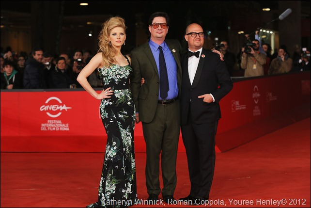 ROME, ITALY - NOVEMBER 15:  (L-R) Actress Katheryn Winnick, director Roman Coppola and producer Youree Henley attend the 'A Glimpse Inside The Mind Of Charles Swan III' Premiere during the 7th Rome Film Festival at the Auditorium Parco Della Musica on November 15, 2012 in Rome, Italy.  (Photo by Ernesto Ruscio/Getty Images)