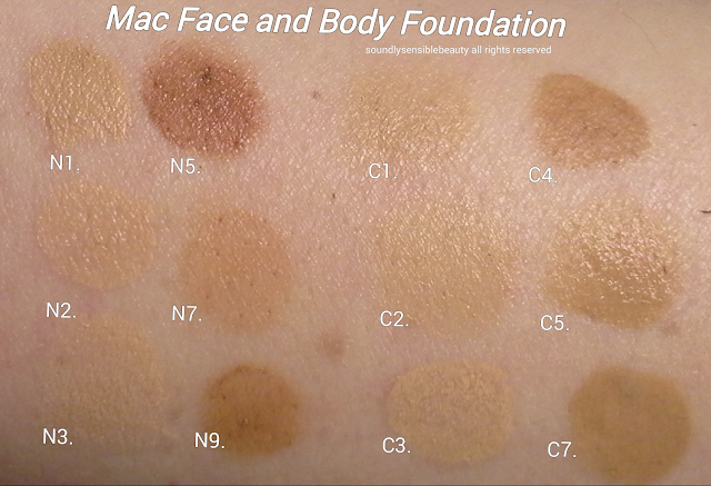Mac Face & Body Foundation; Swatches of Shades N1, N2, N3, N5, N7, N9, C1, C2, C3, C4. C5, C7.