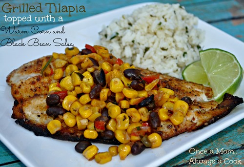 Grilled Tilapia Topped with a Warm Corn and Black Bean Salsa