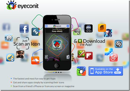 Download apps to your Iphone by scanning icons