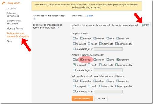 Aspecto del menú de preferencias para motores de búsqueda de Blogger.