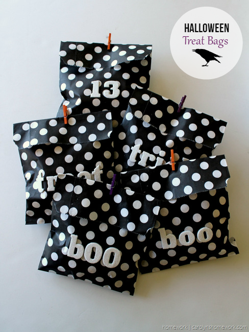Black, White & Glitter Halloween Treat Bags via homework - carolynshomework (1)