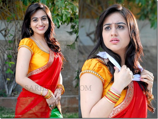 Aksha_Red_Green_Half_Saree