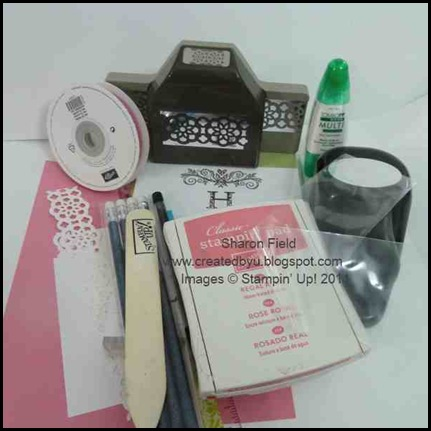 Lace Ribbon Border Punch, Classic Ink Pad, Wide Oval Punch, Brads, scallop dotted ribbon, melon mambo, whisper white, regal rose, strength and hope pencil, bone folder, multipurpose adhesive, pretel bags