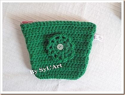 Pochette Trapèze Crochet  vert By SyL'Art