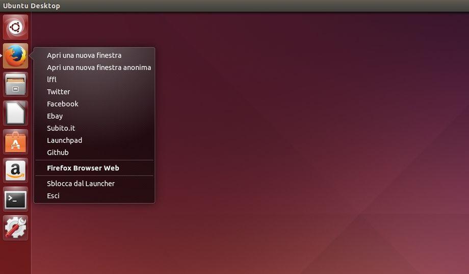 Firefox Quicklist con siti preferiti in Ubuntu