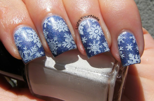 Let It Snow, snowflakes nail art, nail stamping with QA86 plate