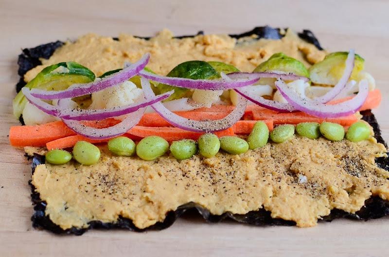 Gluten-free hummus brussel sprout nori wrap