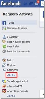 Facebook Registro attività Altro