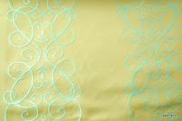 """Luksusowa trudnopalna tkanina z haftem. """"Tafta"""" butikowa. Na zasłony, poduszki, narzuty, dekoracje. Kremowa, błękitna."""