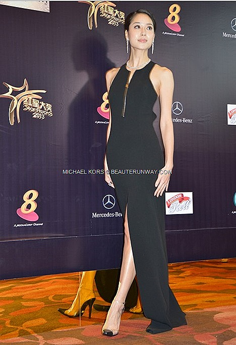 BIANCA BAI MICHAEL KORS SPRING SUMMER 2013 BLACK GOWN stretch wool crepe tank cut-out gown black clear cap toe ankle strap pumps shoes heels Star Award 2013 Marina Bay Sands Singapore celebrity model actress