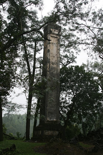 One of two obelisks, to symbolise dynastic stability and majesty erupting from the surrounding forest.