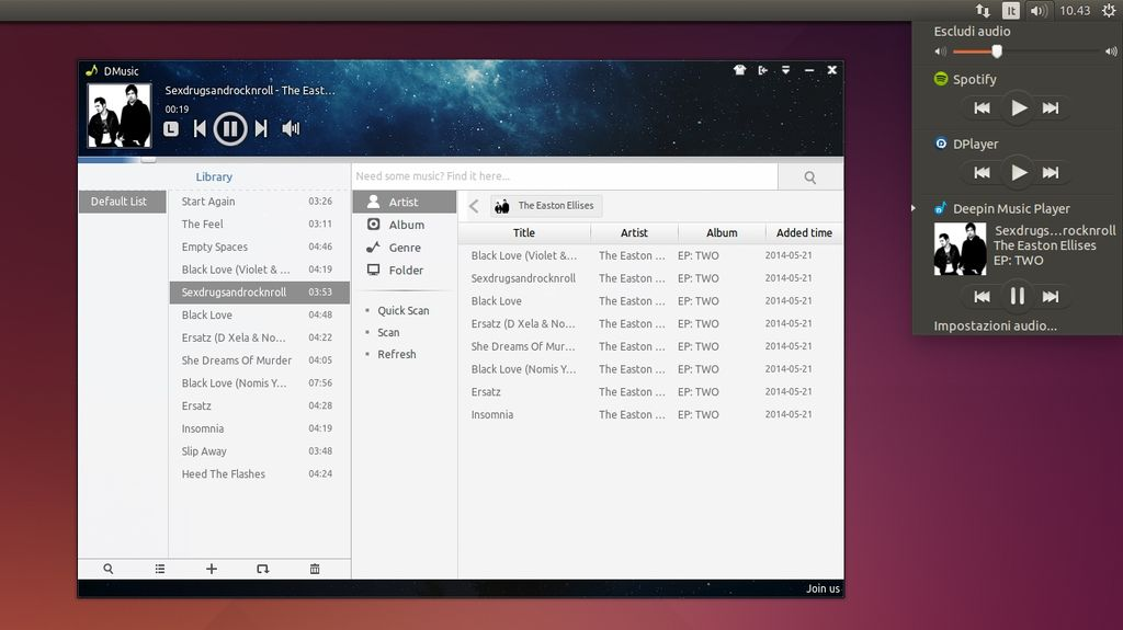 Deepin Music Player 2.0 in Ubuntu