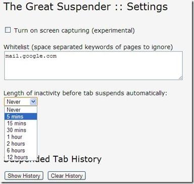 The Great Suspender settaggi aggiuntivi