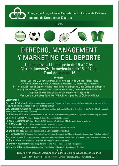 2º Curso sobre Derecho, Management y Marketing del Deporte por el CAQ en Quilmes.