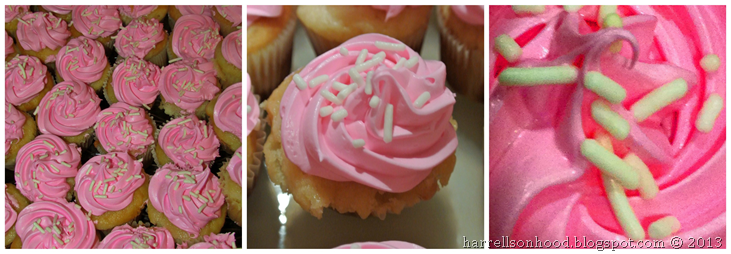 pink mini cupcakes for baby shower