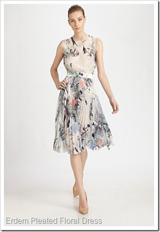 Erdem Pleated Floral Dress